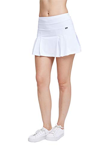 EZ-Joyce Women's Pleated Athletic Skort Tennis&Golf Active Skirt with Pockets Built in Shorts White/XL -