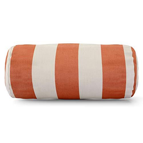 Majestic Home Goods Burnt Orange Vertical Strip Round Bolster