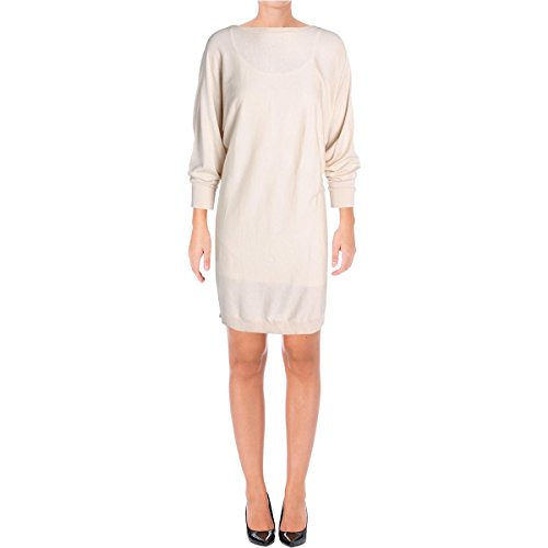 Lauren Ralph Lauren Womens Denessa Ribbed Trim Boat Neck Casual Dress Tan (Ralph Lauren Silk Dress)