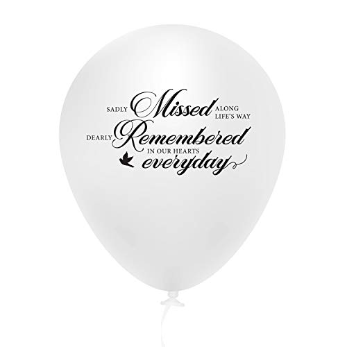 Funeral Balloons White 30 per Pack with Ribbons, Biodegradable Premium Quality Latex by HallGEMs 12 inches
