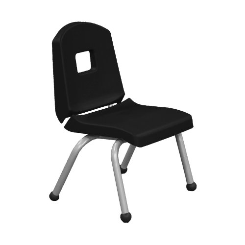 """Creative Colors 14CHRB-BK-BM Split-Bucket Chair, Ball Glides, 14"""" Height, Brushed Metal Frame, Black Seat and Back from Creative Colors"""