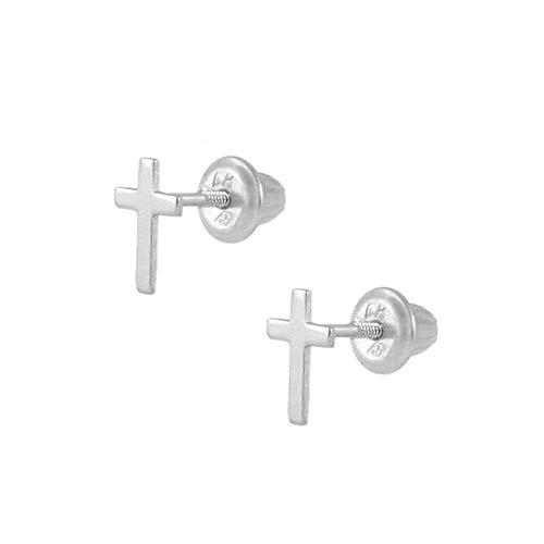 Kids Jewelry - 14K White Gold Cross Screw Back Stud Earrings for Girls ()