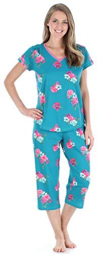 Sleepyheads Women's Sleepwear Cotton Short Sleeve V-Neck Top and Capri Pajama Set (SHCJ1730-4012-MED)