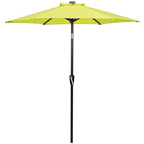 DOMI OUTDOOR LIVING Patio Umbrella, 7 Outdoor Table Market Umbrella with Push Button Tilt Crank, 6 Ribs, Light Green