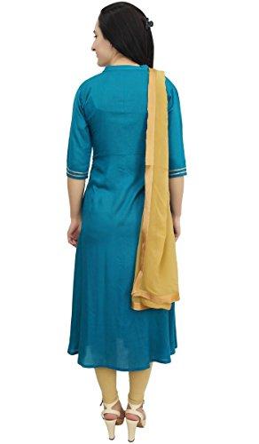 Beige Costume Femmes Sarcelle Decontractee Droit Une Robe Atasi Salwar A Avec Dupatta Et Bleu ligne n8wOkP0