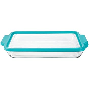 Anchor Hocking 3-Quart Glass Baking Dish with Teal TrueFit Lid