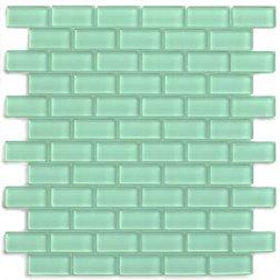 - Sage Green 1x2 Mini Glass Subway Tile 1