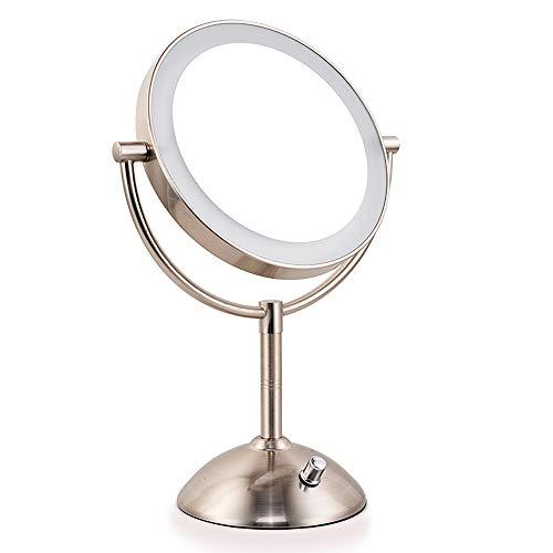 JJYP Espejo de Maquillaje LED-Espejo de cortesía Iluminado de 8 Pulgadas con Aumento de 1x/7x,Espejo de Doble Cara con...