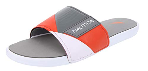 9efc10065f6d2 Nautica Men's Athletic Slide, Strap Comfort Sandal-Gantry-Grey/Orange-12