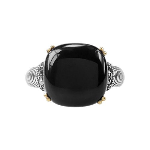 Aura 925 Sterling Silver Marcasite and Black Onyx Ring Size 7