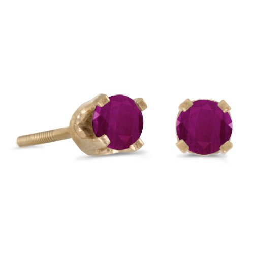 0.24 Carat (ctw) 14k Yellow Gold Round Red Ruby Petite Solitaire Stud Earrings with Screw Back (3 (0.24 Ct Earring)