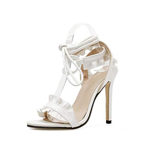 Women High Heels White Peep-Toe Cross Strap Fashion Simple -