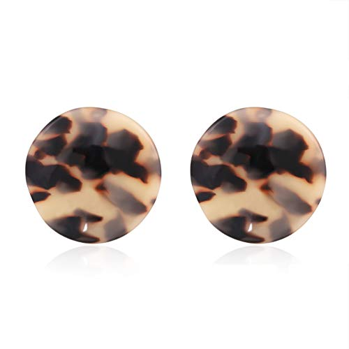 MOLOCH Acrylic Earrings for Women Girls Geometry Sinuous Resin Earrings Bohemia Tortoise Shell Earrings Mottled Statement Stud Earrings Fashion Jewelry (D-Leopard)