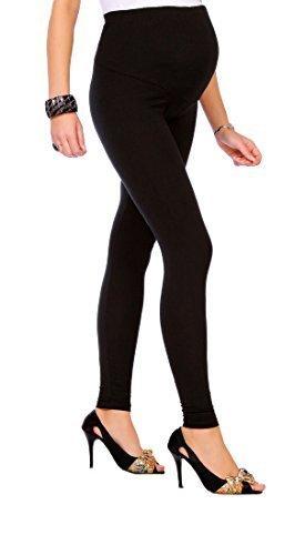 Futuro Fashion - Leggings premaman, lunghi fino alle caviglie, in cotone molto confortevole, taglia unica Nero
