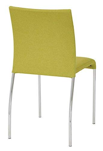 AVE SIX Conway Upholstered Stacking Chair with Chrome Legs, 2-Pack, Spring Green