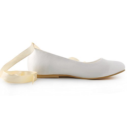 ElegantPark Women Comfort Flats Closed Toe Ribbon Tie Satin Wedding Bridal Shoes Ivory IcoHSj