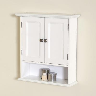Bathroom Wall Mounted Cabinet in White Collette 21.5 in. W Sturdy Wood with Adjustable Shelf Design
