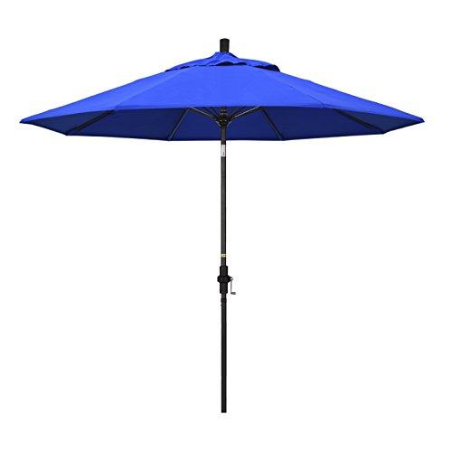 California Umbrella 9′ Round Aluminum Pole Fiberglass Rib Market Umbrella, Crank Lift, Collar Tilt, White Pole, Sunbrella Canvas