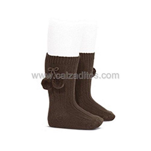 Cóndor Calcetines altos LISOS de algodón marrón cálido con borlas, Marrón, Talla 0 (