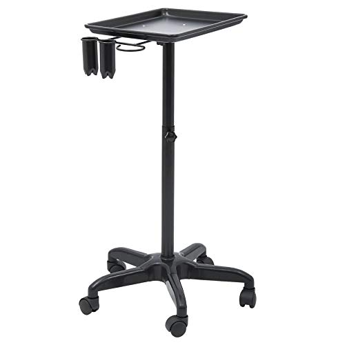Homgrace Aluminum Instrument Tray, Beauty Rolling Trolley Cart Stand for Salon Spa Beauty Service With Caddy