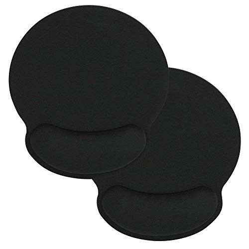 HONESTY Black Memory Sponge Foam Mouse Pad with Wrist Rest Support (2 Pack) by HONESTY