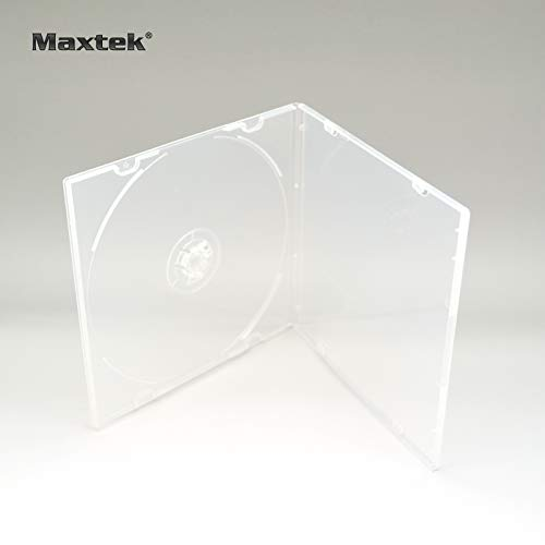 Single Jewel Cases Cd Dvd - Maxtek 5.2mm CD Case, Slim Single Clear PP Poly Plastic Cases with Outer Sleeve, 100 Pack.