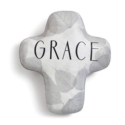 Cross Two Leaf - DEMDACO Grace Grey Leaf 2 x 2 Resin Stone Collectible Artful Cross Token Figurine