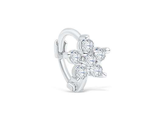 ONDAISY 14k Rhodium Plated Simulated Diamond Cz Star Snowflake Flower Tragus Cartilage Daith Rook Helix Snug Clicker Hoop Ring Earring Piercing For Women16g