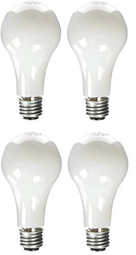 Dysmio Lighting 100 Watt A21 120 Volt, 2700K Frost E26, Rough Service Incandescent Light Bulb (3-Way 30/70/100 Watt, 4 Pack)