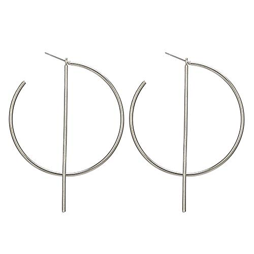 YRY Simple Bar Circle Dangle Earring Lightweight Hypoallergenic Big Hoop Earrings for Women (Silver)