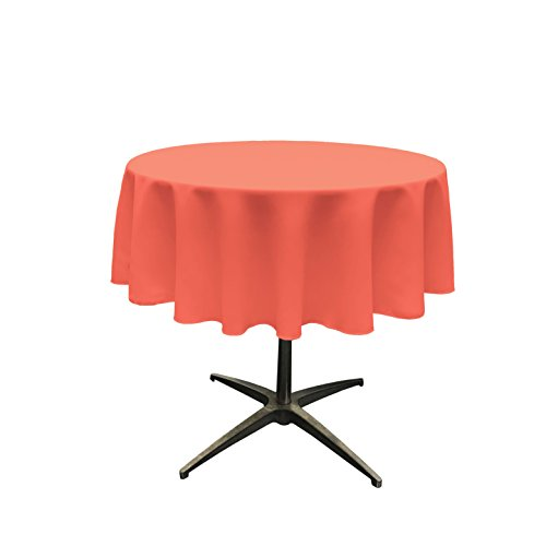 LA Linen Tablcloth Polyester Poplin Tablecloth 58-Inch Round, Coral]()