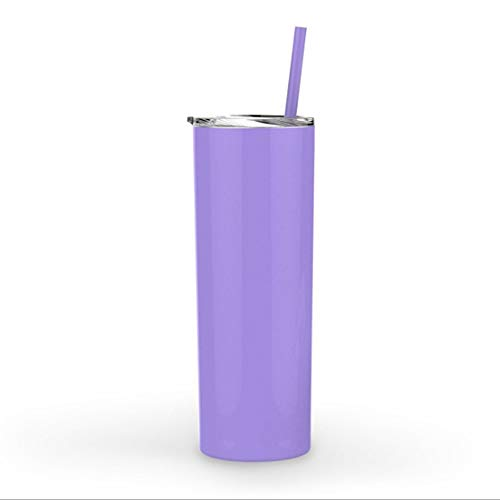 20oz stainless steel straight straw cup 600ml double vacuum flask (Purple) ()