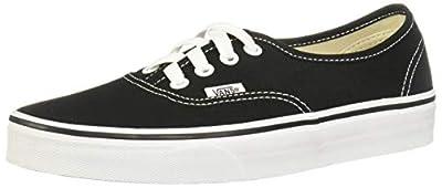 Vans Unisex Authentic Solid Canvas Skateboard Sneakers (35 M EU / 5.5 B(M) US Women / 4 D(M) US Men, Black/black)