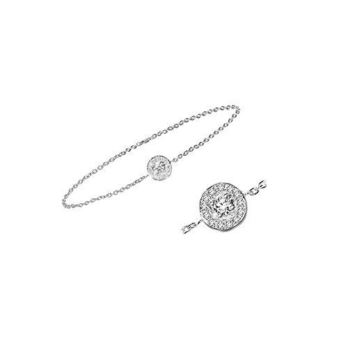 Libertini bracelet argent 925 femme plaque or Rose serti de Diamant en forme de Rond