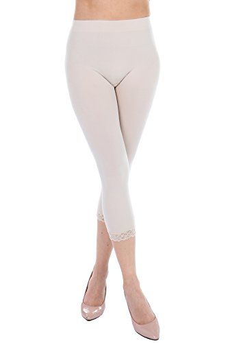 Cropped Capri Leggings with Lace Trim by F&F - Stretchy, Lightweight Tights (One Size, (Capri Cropped Shorts)