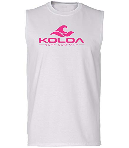 Koloa Surf Mens Classic Wave Ultra Cotton Sleeveless T-Shirt-2XL-White/pink