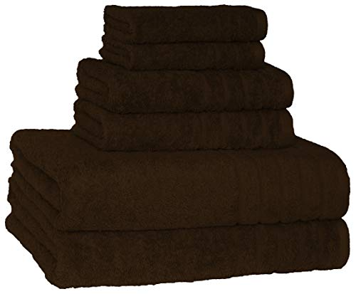 Price comparison product image 700 GSM Hotel & Spa Quality Super Absorbent & Soft, 6 Piece Turkish Towel Set for Kitchen & Decorative Bathroom Sets Includes 2 Bath Towels 2 Hand Towels 2 Washcloths, Chocolate Brown