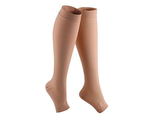 Right Leg Beige Med Toe (Veencare, Open Toe, Knee High, 20-30 mmHg, Compression Socks, Medical, Pregnancy, Athletic, Varicose Vein, Edema, Travel, Nursing, Beige, X-Large, Unisex)