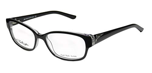 Smith Optics Mystic Womens/Ladies Designer Full-rim Spring Hinges Hand Made Modern Acetate Eyeglasses/Eyeglass Frame (53-16-130, Black/Clear)