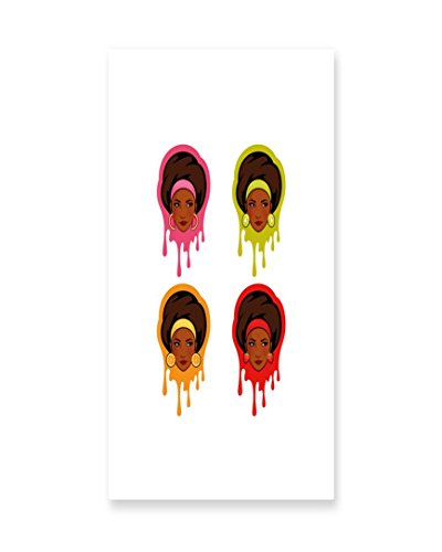 Lunarable Afro Wall Art, Watermelon Kiwi Strawberry and Orange Earrings Colorful with African American Girls, Gloss Aluminium Modern Metal Artwork for Wall Decor, 11.6 W X 23.5 L Inches, (African American Family Sculpture)