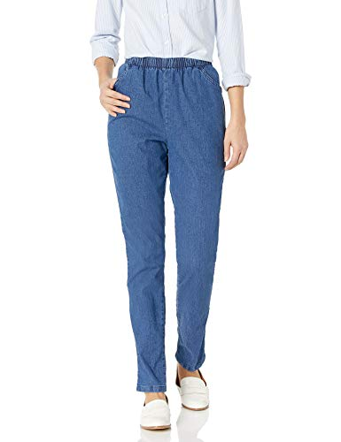 Chic Classic Collection Women#039s Stretch Elastic Waist PullOn Pant Mid Shade Denim 14P