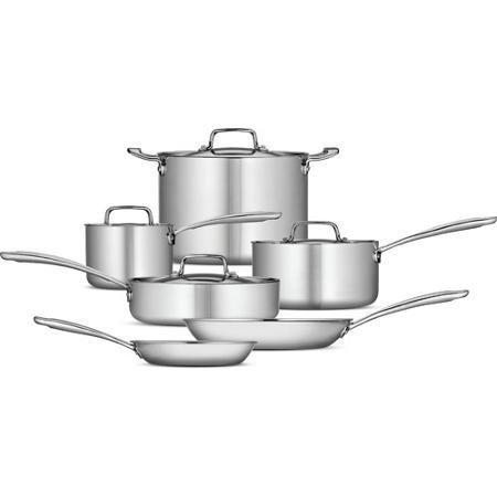 Tramontina 10-piece Tri-ply Clad Cookware Set, Stainless Steel Includes 2 Frying Pans, Saute Pan, 2 Sauce Pans and Stock Pot - Oven and Dishwasher Safe