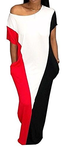 Speedle Women One Shoulder Short Sleeves Contrast Color Block Loose Maxi Dress with Pockets