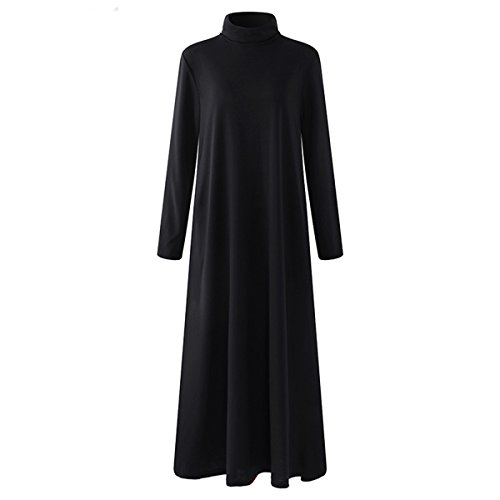 WOMEN'S CASUAL TURTLENECK LONG DRESS WITH POCKETS