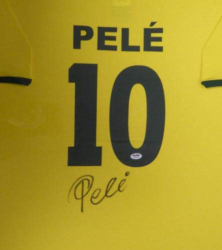 Pele Signed Jersey CBD Framed Yellow Copa Mundo Short Sleeve Stock #107921 PSA/DNA Certified Autographed Soccer Jerseys