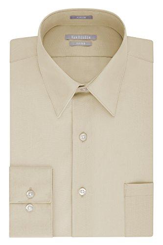 Van Heusen Men's Dress Shirt Fitted Poplin Solid, Stone, 14.5
