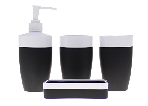 JustNile Royal Plastic and Rubber 4-Piece Bathroom Accessory Set; Includes 2 cups, 1 Soap Dispenser and 1 Soap Dish - Black and White (Black And White Bathroom Accessories Sets)