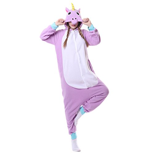 [Foresightrade Adults and Children Animal Narwahl Cosplay Costume Pajamas Onesies Sleepwear (S fit for Height 148-158CM, purper] (Cute Maternity Costumes Halloween)