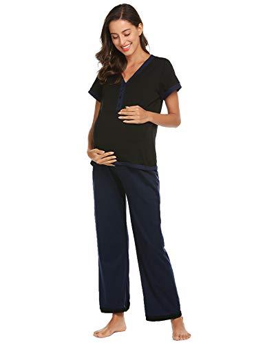 Ekouaer Nursing PJS Nightgown Hospital Delivery/Labor/Maternity/Pregnancy Pajamas Sleepwear Set]()
