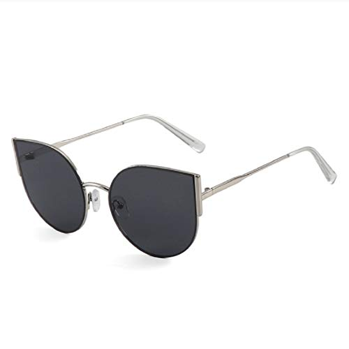 BOLLH Cat Eye Mirrored Flat Lenses Street Fashion Metal Frame Women Men ()